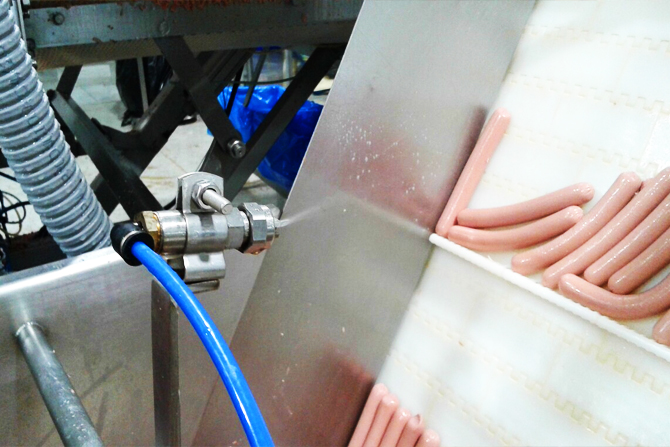 Spraying system for belts and slicing zones